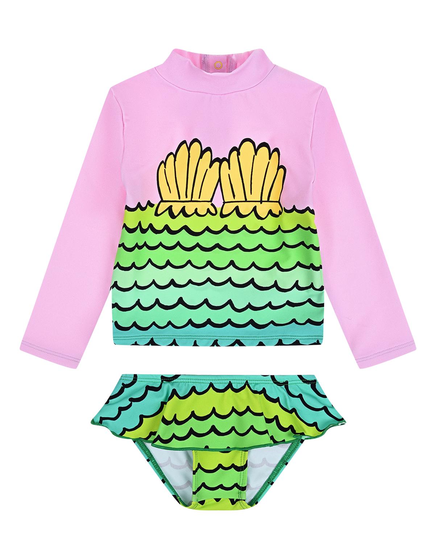 Купить Комплект для купания с принтом ракушки Stella McCartney детский, Мультиколор, 78% полиамид+22% эластан, 100% полиэстер