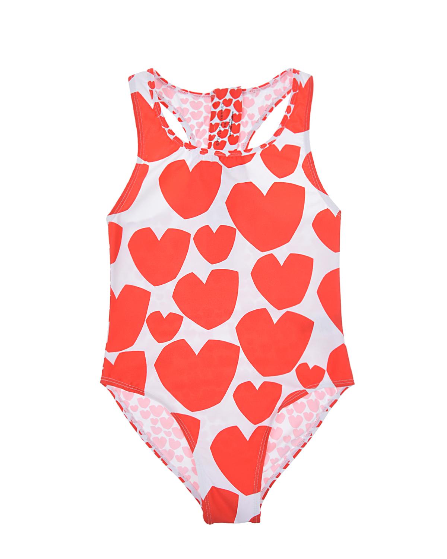 Купить Белый купальник с принтом сердца Stella McCartney детский, Мультиколор, 78%полиамид+22%эластан, 100%полиэстер