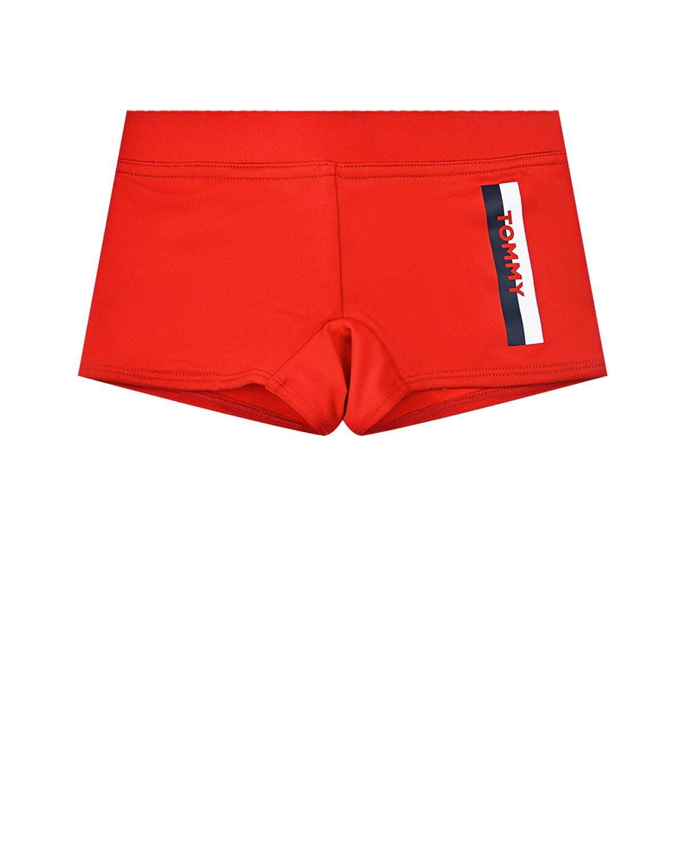 Красные плавки-шорты с логотипом Tommy Hilfiger детские фото