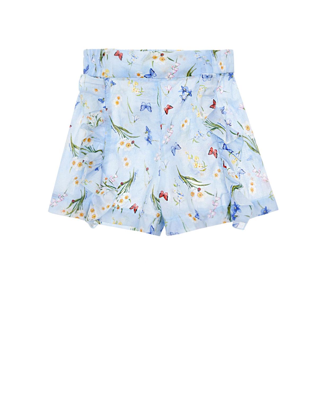 Купить Голубые шорты с отделкой рюшами Monnalisa детские, Голубой, 100%хлопок