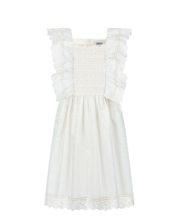 Белое платье из хлопка с отделкой кружевом Aletta.