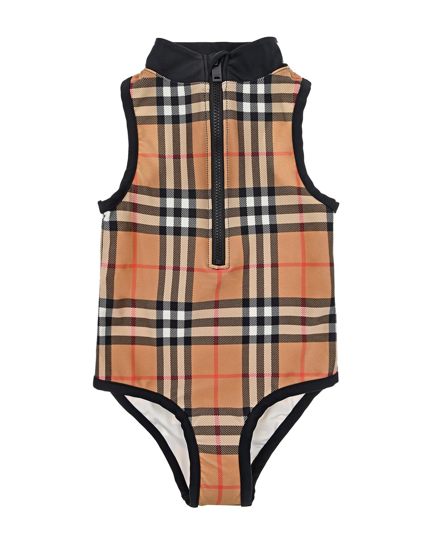 Купить Бежевый купальник в клетку Vintage Check Burberry детский, 80%полиамид+20%эластан