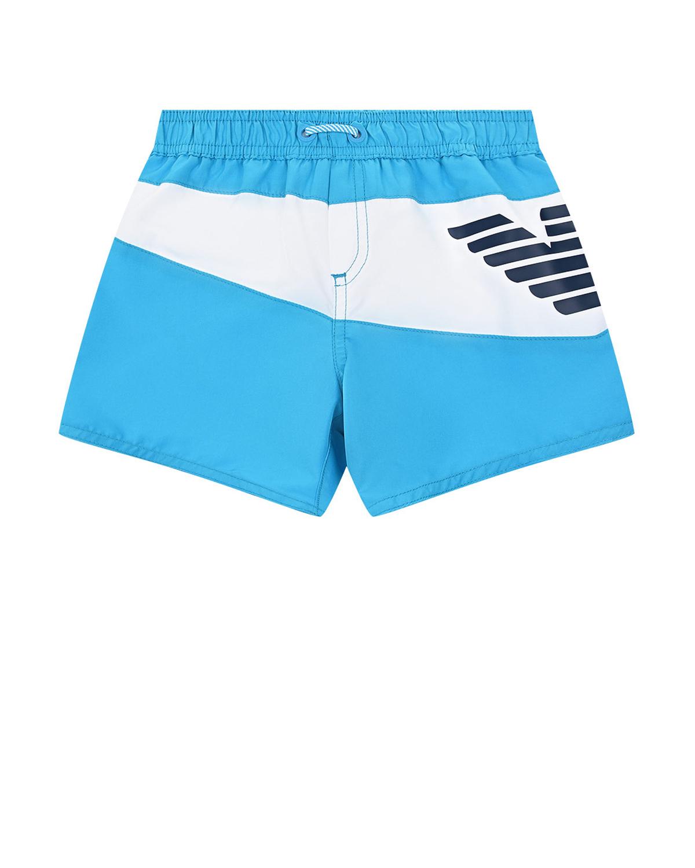 Голубые шорты для купания с логотипом Emporio Armani детские фото