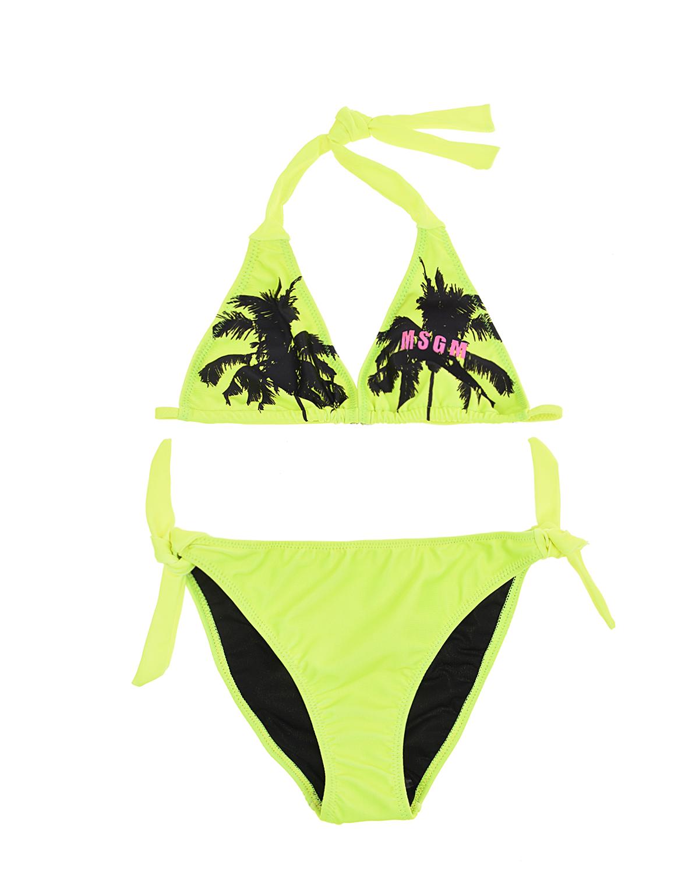 Купить Зеленый купальник с принтом пальмы MSGM детский, Желтый, 82%полиэстер+18%эластан, 88%полиэстер+12%эластан