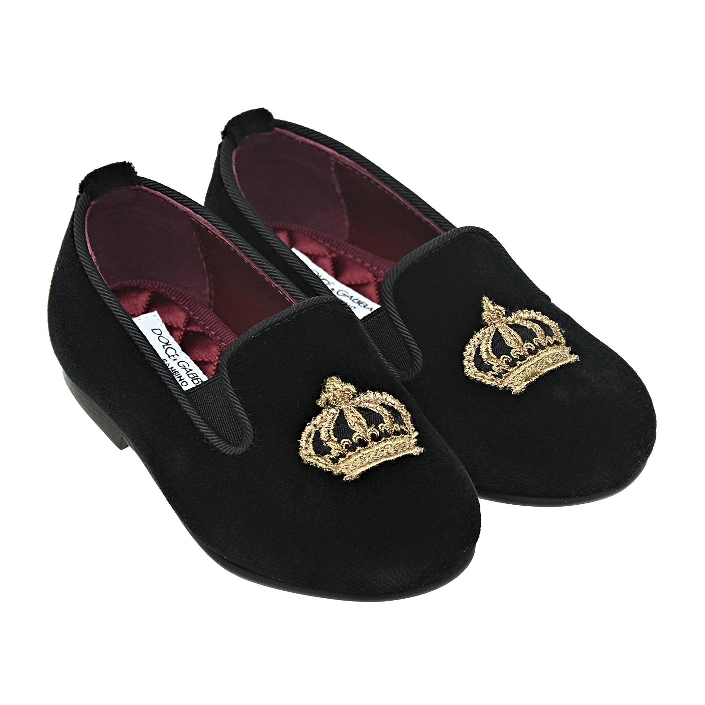 Черные бархатные лоферы Dolce&Gabbana детские