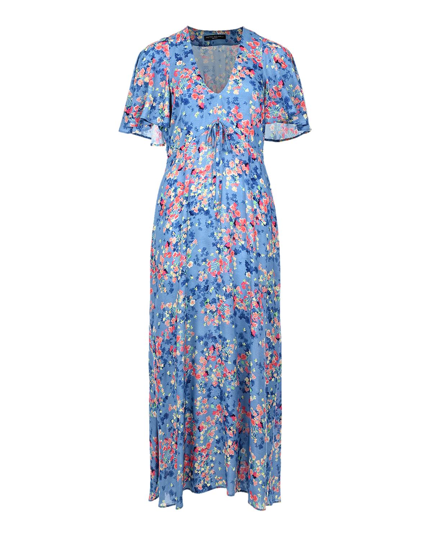 Голубое платье для беременных с воланами Pietro Brunelli, Голубой, 100% вискоза  - купить со скидкой