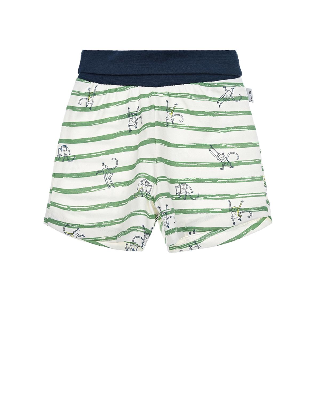 Купить Шорты в зеленую полоску Sanetta Kidswear детские, Белый, 100%хлопок