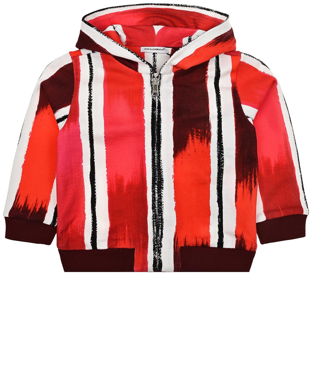 Купить Спортивная куртка в красно-белую полоску Dolce&Gabbana детская, Мультиколор, 100%хлопок, 95%хлопок+5%эластан