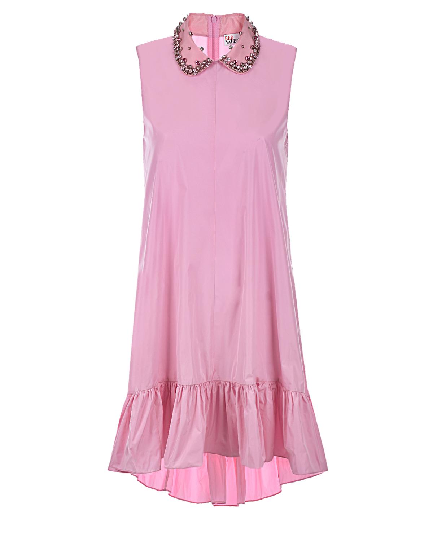 Купить Розовое платье со стразами на воротнике Red Valentino, Розовый, 100%полиэстер