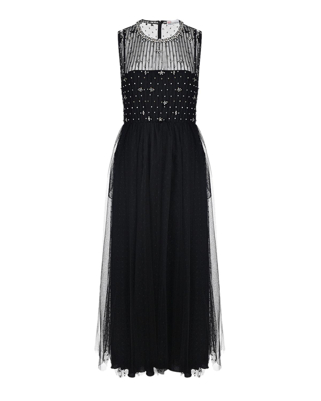 Купить Черное платье со стразами Red Valentino, Черный, 100%полиамид, 100%полиэстер