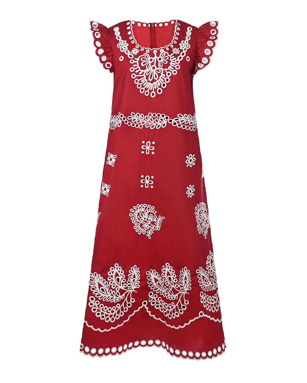 Купить Красное платье с вышивкой сангалло Red Valentino, Красный, 97%хлопок+3%эластан, 100%хлопок