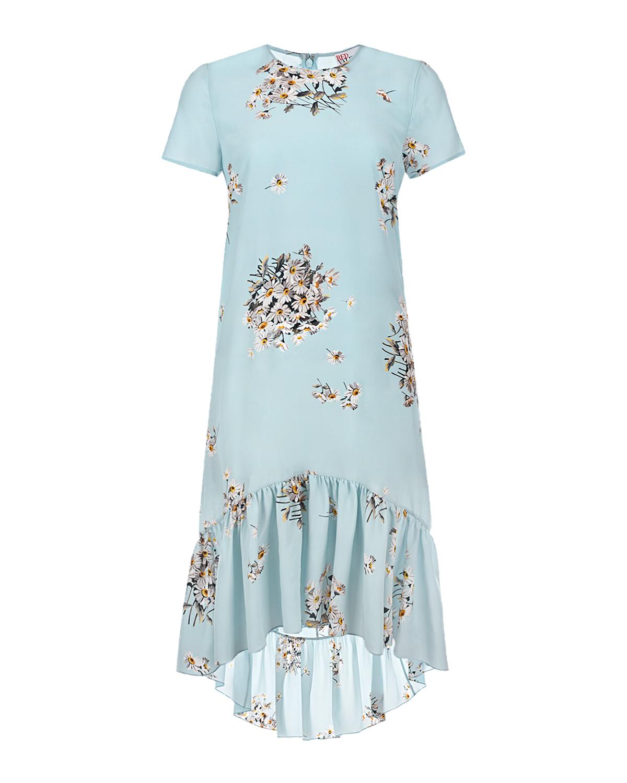 Купить Голубое шелковое платье с вышивкой Red Valentino, Голубой, 100%шелк