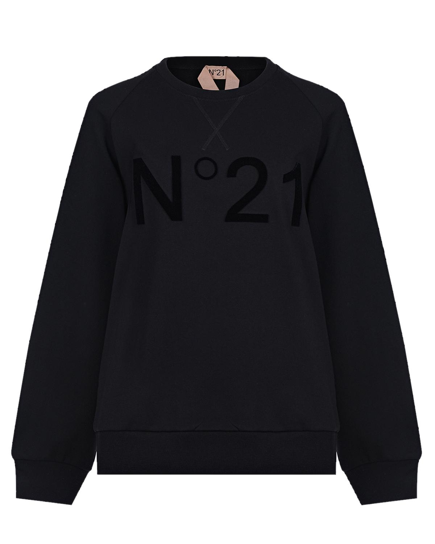 Купить Черный свитшот с логотипом в тон No. 21, 100%хлопок