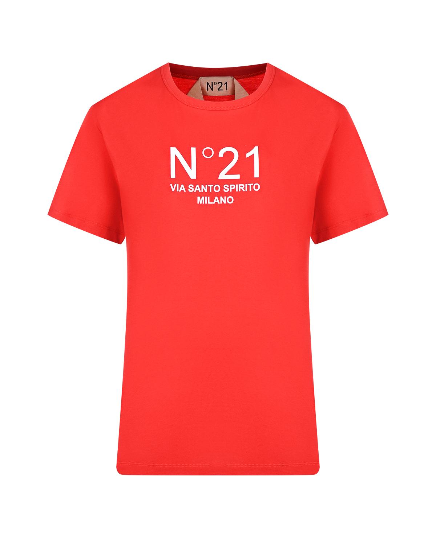 Купить Красная базовая футболка с логотипом No. 21, Красный, 100%хлопок