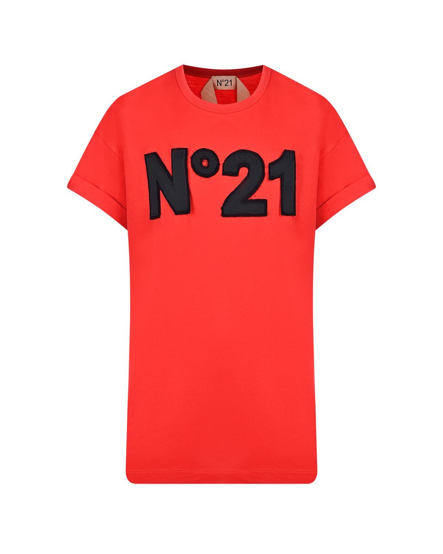 Купить Красная футболка с аппликацией-логотипом No. 21, Красный, 100%хлопок