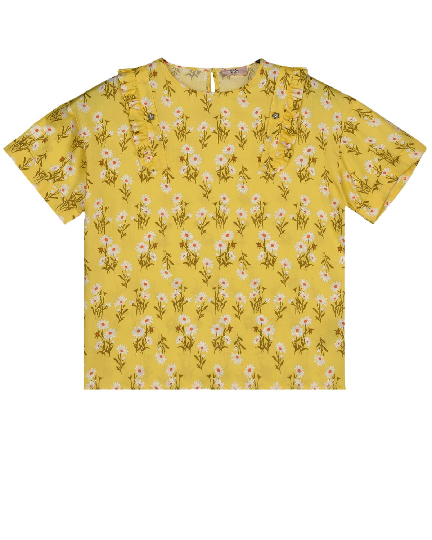 Купить Желтый топ с цветочным принтом No. 21 детский, 100%хлопок