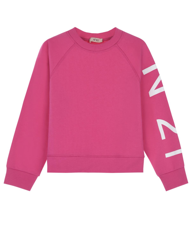 Купить Розовый свитшот с логотипом на рукаве No. 21 детский, 100%хлопок
