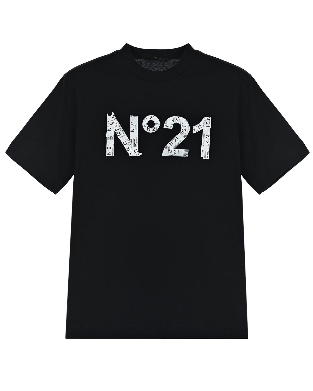 Купить Черная футболка с принтом из газетных вырезок No. 21 детская, Черный, 100%хлопок