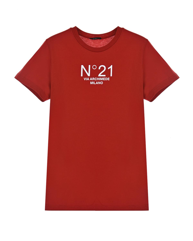 Купить Красная футболка с логотипом No. 21 детская, Красный, 100%хлопок