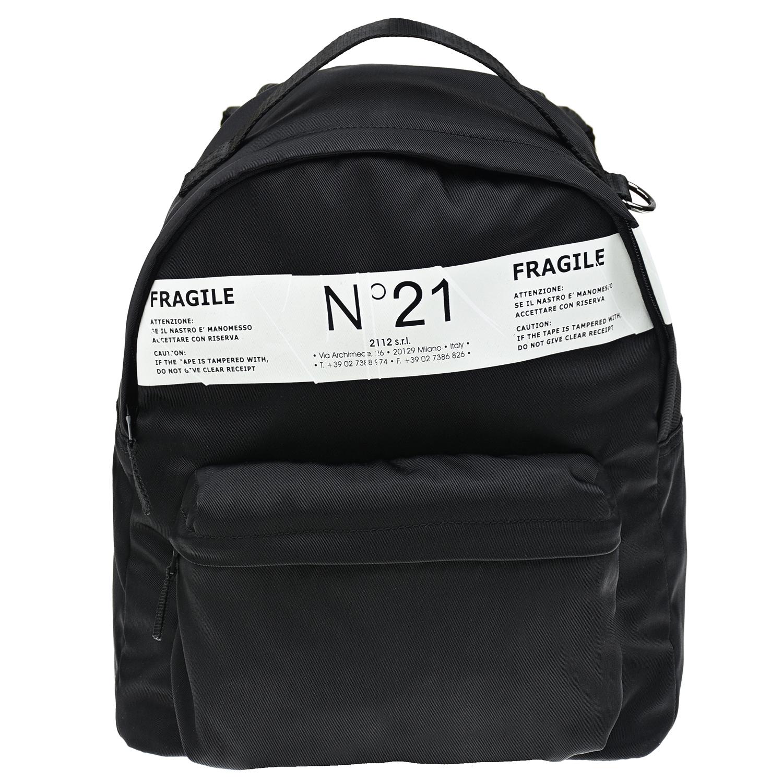 Купить Черный рюкзак с белым логотипом, 35x27x14 см No. 21 детский, 100% полиамид, 100%нейлон, 90%хлопок+10%полиэстер, 100%хлопок, 100%кожа