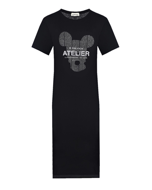 Купить Платье-футболка с принтом Atelier 5 Preview, Черный, 100%хлопок