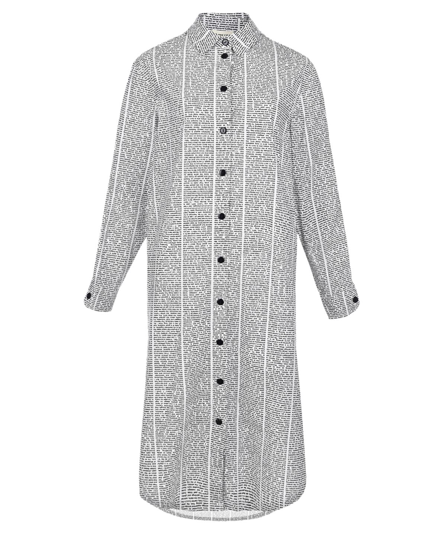 """Платье-рубашка с принтом """"газета"""" 5 Preview, Белый, 100%хлопок  - купить со скидкой"""