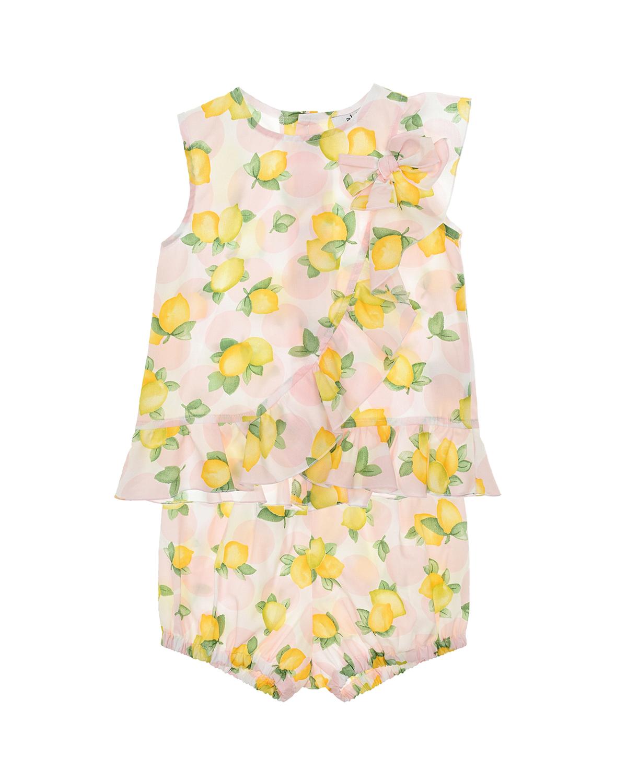 Купить Розовый комплект с принтом лимоны Aletta детский, Мультиколор, 100%хлопок