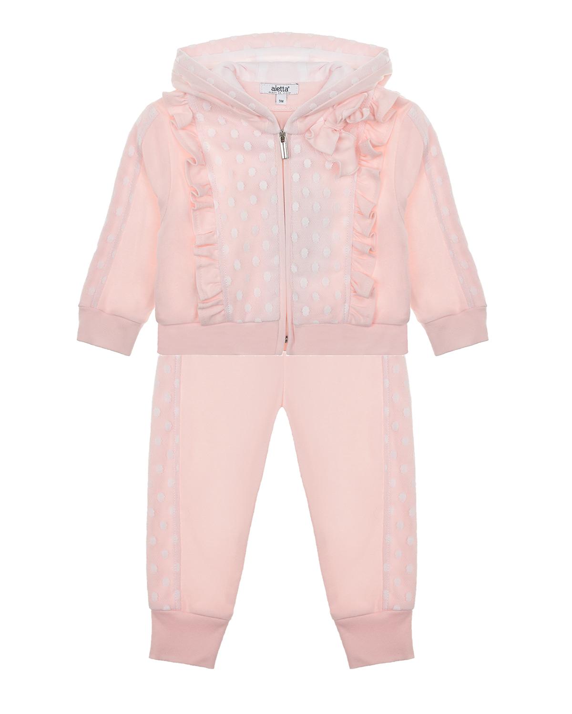 Купить Розовый спортивный костюм с рюшами Aletta детский, 100%хлопок, 100%полиэстер