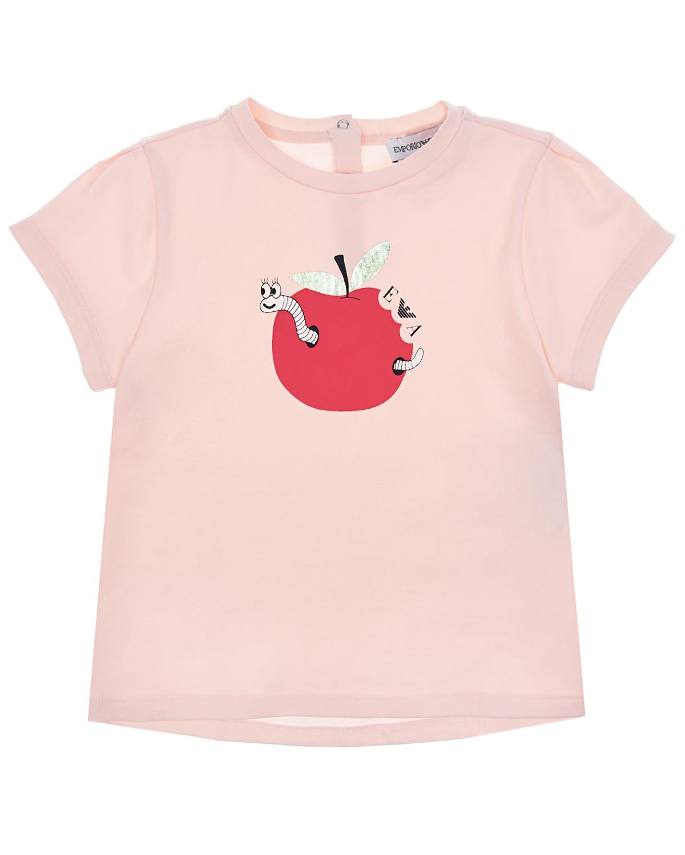 Купить Розовая футболка с принтом яблоко Emporio Armani детская, Бежевый, 95%хлопок+5%эластан