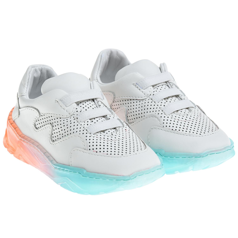 Купить Белые кроссовки с разноцветной подошвой Emporio Armani детские, Белый, Верх:100% кожа, Подкладка:100% кожа, Стелька:100% кожа, Подошва:100% резина