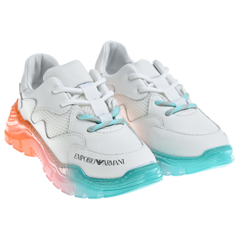 Купить Белые кроссовки с радужной подошвой Emporio Armani детские, Белый, Верх:90% кожа, 10% полиэстер, Подкладка:100% кожа, 100% хлопок, Стелька:1, Подошва:100% резина
