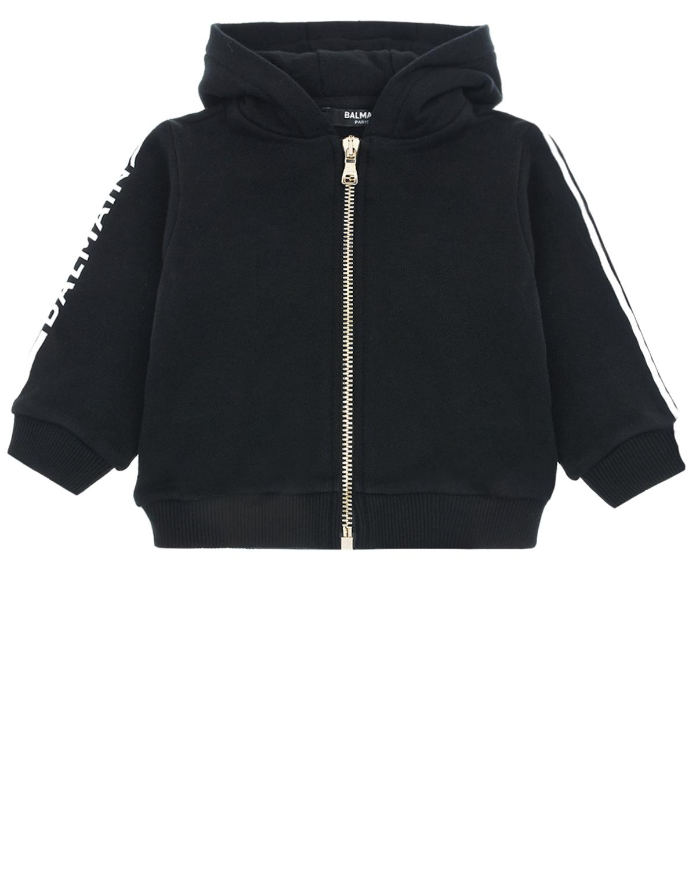 Купить Черная спортивная куртка с капюшоном Balmain детская, Нет цвета, 100%хлопок