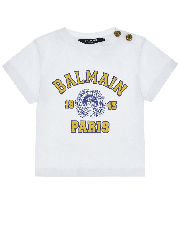 Купить Белая футболка с желтым логотипом Balmain детская, Нет цвета, 100%хлопок