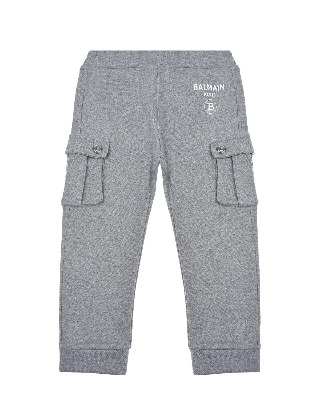 Купить Серые спортивные брюки с квадратными карманами Balmain детские, Нет цвета, 100%хлопок