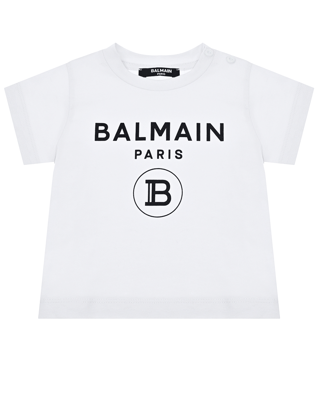 Купить Белая футболка с черным логотипом Balmain детская, Нет цвета, 100%хлопок