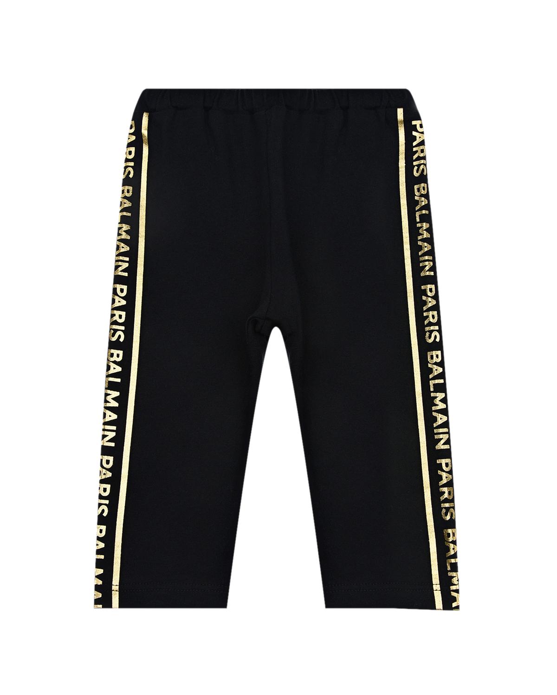 Купить Черные спортивные брюки с золотистыми лампасами Balmain детские, Нет цвета, 100%хлопок
