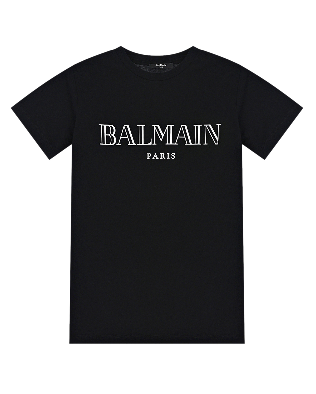 Купить Черная футболка с белым логотипом Balmain детская, Нет цвета, 100%хлопок