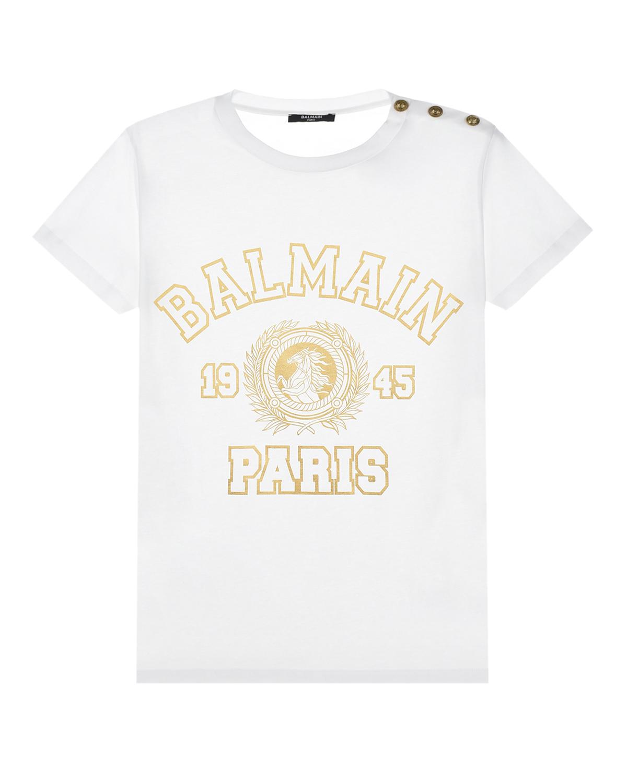 Купить Белая футболка с золотым логотипом Balmain детская, Нет цвета, 100%хлопок