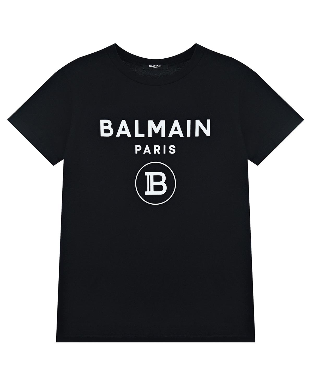 Черная футболка с белым логотипом Balmain детская, Нет цвета, 100%хлопок  - купить со скидкой