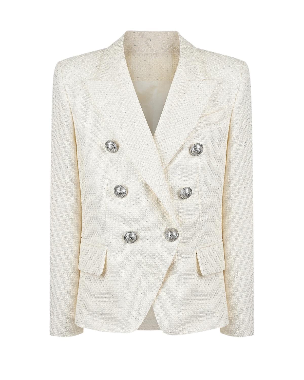 Купить Кремовый пиджак с серебряными пуговицами Balmain детский, Нет цвета, 54%хлопок+19%полиэстер+15%вискоза+6%металл.полиэстер+4%полиамид+2%акрил