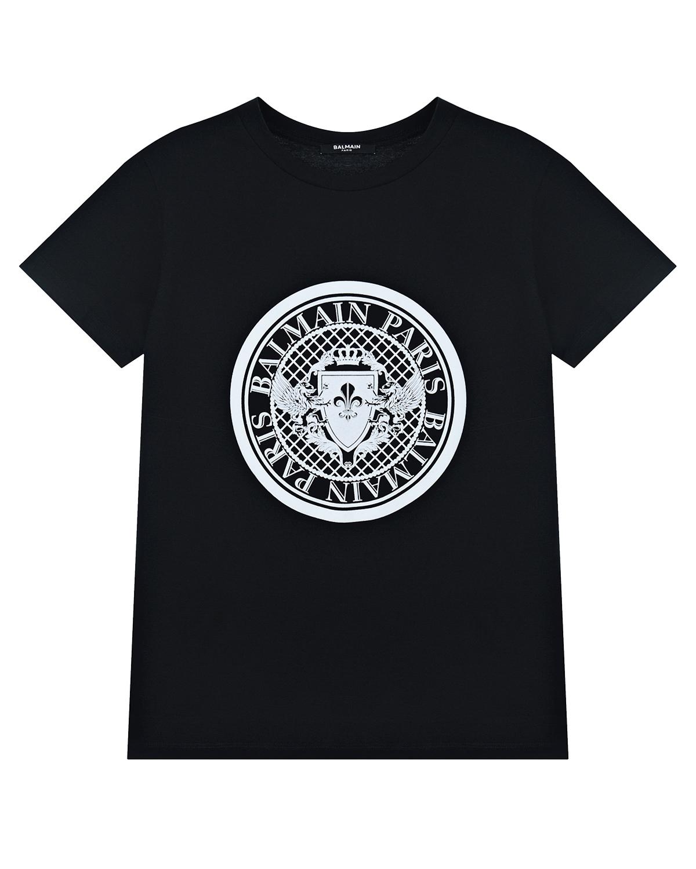 Купить Черная футболка с принтом Balmain детская, Нет цвета, 100%хлопок