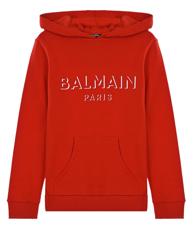 Купить Красная толстовка-худи с белым логотипом Balmain детская, Нет цвета, 100%хлопок