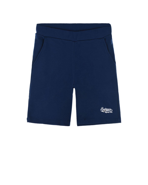 Купить Синие прямые шорты Balmain детские, Нет цвета, 100%хлопок