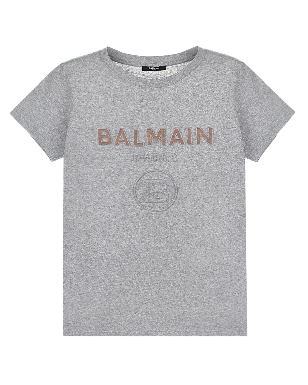 Купить Серая футболка с логотипом Balmain детская, Нет цвета, 100%хлопок