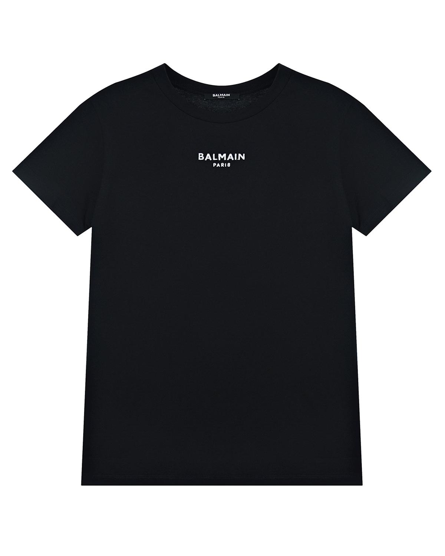 Купить Черная футболка с логотипом Balmain детская, Нет цвета, 100%хлопок