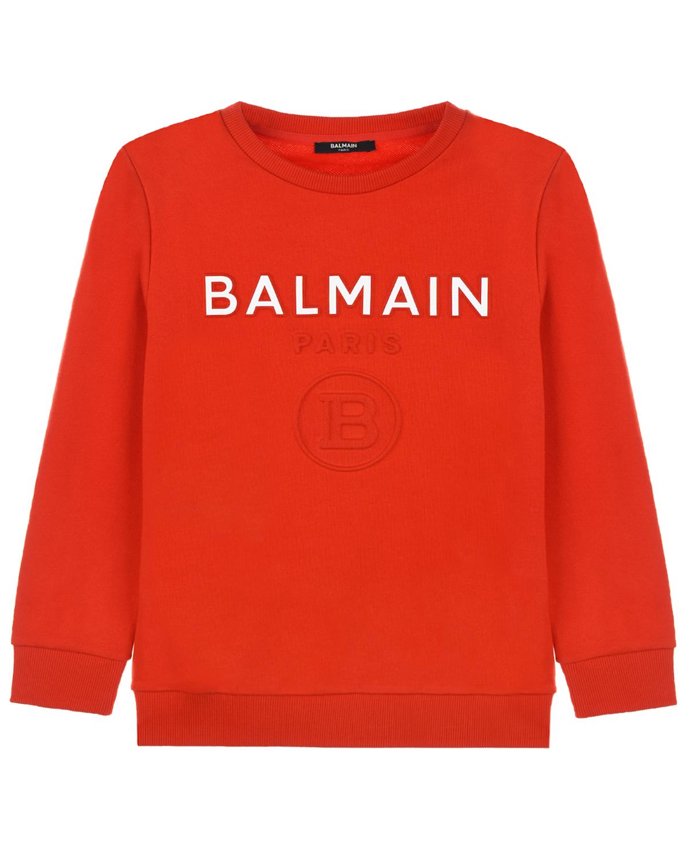 Купить Красный свитшот с белым логотипом Balmain детский, Нет цвета, 100%хлопок