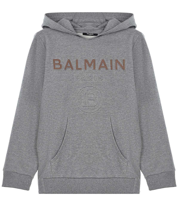 Купить Серая толстовка-худи с объемным логотипом Balmain детская, Нет цвета, 100%хлопок