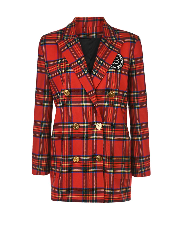 Красный пиджак в клетку Balmain детский, Нет цвета, 97%шерсть+3%эластан, 100%вискоза  - купить со скидкой