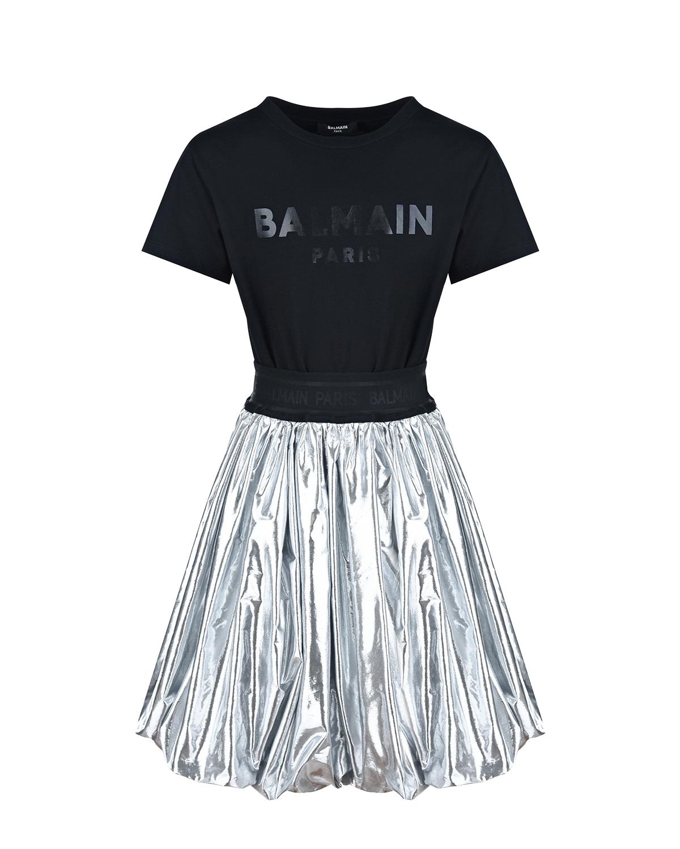 Купить Платье с серебристой юбкой Balmain детское, Нет цвета, 100%хлопок