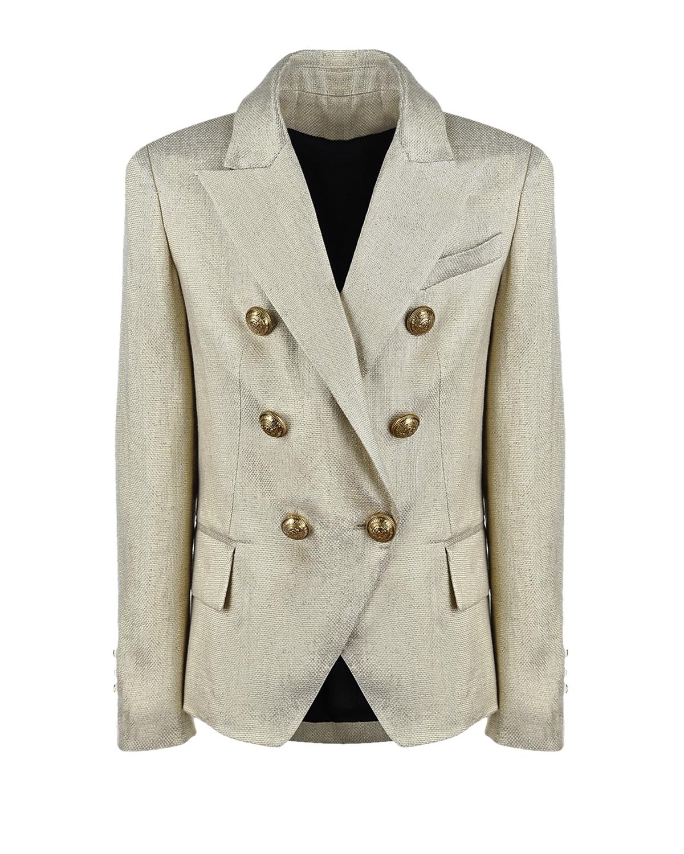 Купить Бежевый пиджак с золотыми пуговицами Balmain детский, Нет цвета, 95%лен+5%металл.нить
